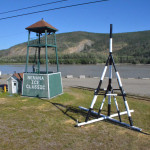 The town of Nenana puts this black and white structure on the ice in the spring. They tie it to the bell in the tower on the shore and bet on when the breakup will come.