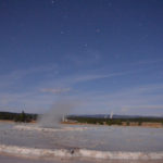 Great Fountain Geyser under the moon. Long exposure.